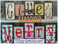 Reversible Christmas and Thanksgiving wood b-Give thanks reverses with Merry Christmas on Etsy, $27.00 merri christma, revers christma