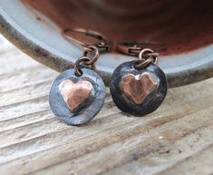 Heart Earrings Copper Hearts Copper Charms Love by fiveforty, $130.00 Rustic and very sweet