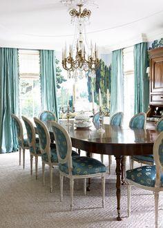 Dining Room  Aqua Silk Draperies & Zuber Wallpaper