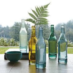 Great recycled glass bottles. Teal and yellow options!