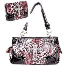 Western Leopard Cross Pink Rhinestone Pocket Purse W Matching Wallet In Stock 62.99