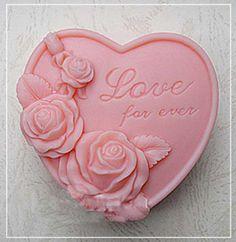 Heart Shape Love for ever Rose Soap Mold Mould door artdeco123