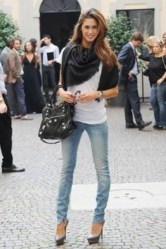 White tee, scarf, skinnies, heels, #Balenciaga bag- Done and Done!