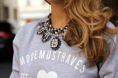 statement necklace with sweatshirt