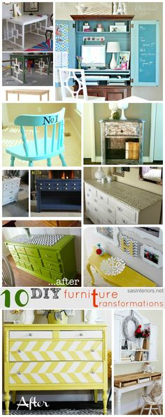 *10 Great DIY Furniture Transformations @Alysha Cauffman Cauffman Cauffman Cauffman Cauffman Schmidt K  I couldn't make a whole lot of sense out of these but thought you might..the colors drew me..I dunno, take a peek for inspiration :P