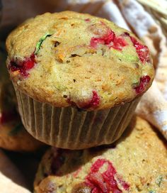 Fruite and Veggie Packed Muffins - Muffins that get their hearty taste and pops of color from cranberries, carrots and zucchini.