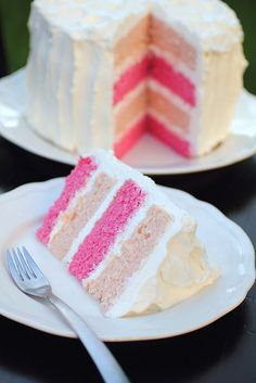 Pink Layered Cake by adventuressheart #Cake #Pink_Cake #adventuressheart