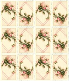 Shabby chic pink roses collage page  2 sizes available...are beautiful on cards, tags and scrapbooks