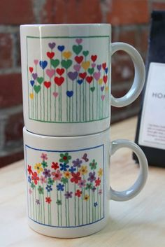 Vintage Floral & Heart Coffee Mugs, Set of Two