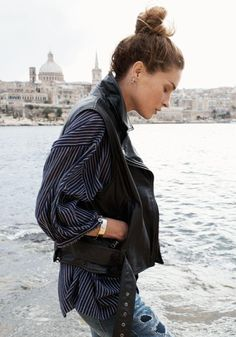 Leather Tour Vest Madewell Spring 2014, Erin Wasson on location in Malta #denimmadewell