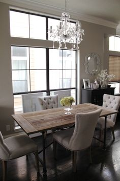 rustic table, chic dining chairs