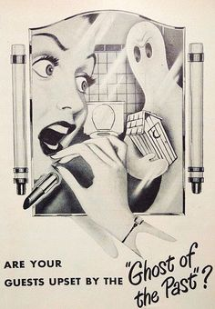 Vintage ad with a spooky or Halloween theme