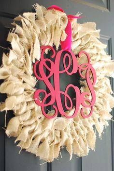 Love the monogram on this super cute burlap wreath!!  via @Mama and Baby Love