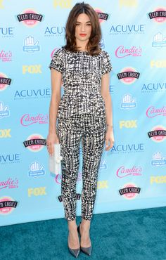Crystal Reed looking chic at the TCAs.