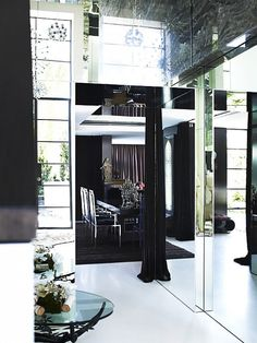 Mirrored Hallway in Modern Home