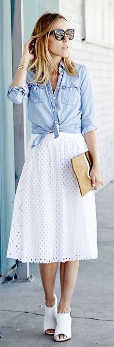 chambray shirt over white dress