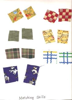 Matching Skills: Children match small squares of cloth and glue them onto a piece of paper.