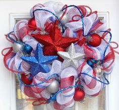 Patriotic USA America Wreath Mesh Military by HolidaysAreSpecial, $75.00