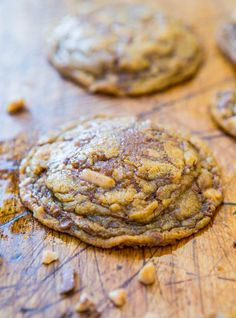 Soft and Chewy Toffee and Milk Chocolate Peanut Butter Cookies (gluten-free) - NO Butter & NO Flour in these super soft cookies stuffed with toffee bits!