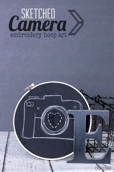 Camera Embroidery Hoop Art