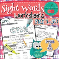 Sight Words Worksheets Find, Read, Write Fry 1-50 from Cherry Workshop on TeachersNotebook.com -  (50 pages)  - Sight Words Worksheets. Practice the first 50 words from the Fry list.