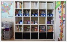 homeschool classroom Use our IKEA cube shelf for supplies/books?