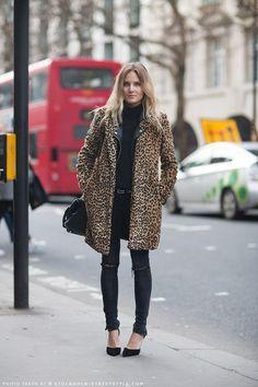leopard print coat, black skinnies and black heels