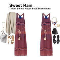 """Tiffani Belted Racer Back Maxi Dress"""
