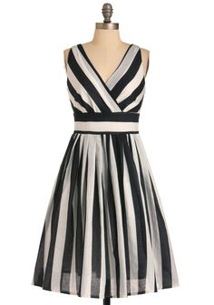 Glamour Power to You Dress in Stripes - White, Stripes, Pleats, A-line, Sleeveless, Vintage Inspired, 50s, Black, Casual, Print, Long