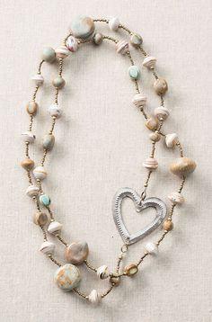 Robin's Egg Long Heart Necklace