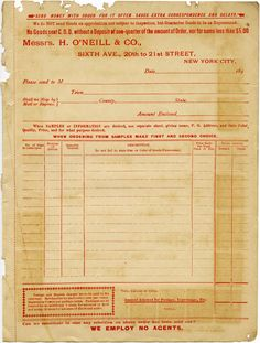 1890s Catalogue Order Form