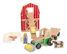 {Whittle World Wooden Farm & Tractor Set} This action-packed play set has animals to tend, hay to pile, and a tractor to keep it all moving.
