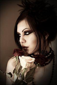 eye makeup, fashion flower, dark beauty, dark side