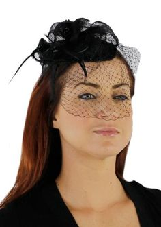 Charisma Sinamay Fascinator Cocktail Hat with Headband and Netting - List price: $55.00 Price: $29.99