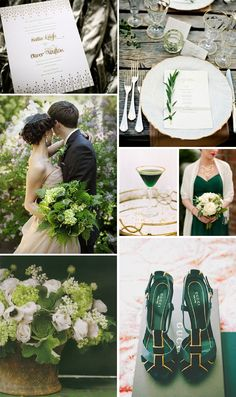 A peek at some of Ellie Snow's elegant green & gold wedding inspiration for Annadel for Bella Figura (on sale now through April 30, 2014!)