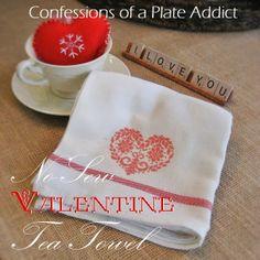 CONFESSIONS OF A PLATE ADDICT: No-Sew Faux Cross Stitch Valentine Tea Towel