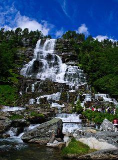 Tvindefossen Waterfall in Voss, Norway