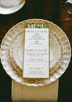 beautiful Gatsby-inspired china and menu design