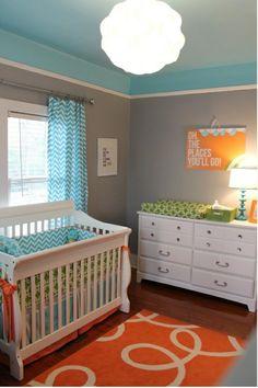 cute blue & orange baby room