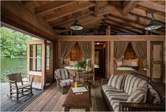 Love this rustic, cozy design for the lake!
