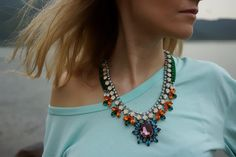 A colorful crystal necklace makes a stunning statement. crystalnecklac, crystal necklac, swarovski crystals, color crystal