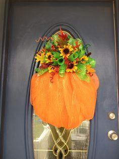 Pumpkin, fall deco mesh wreath