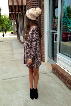 Leopard dress, beanie #swoonboutique
