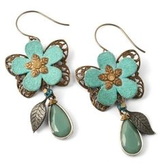 Step-by-Step Tutorial: Create Vintaj Riveted Earrings earring gem, galleries, craft, spring flower, bead, rivet earring, felt earring, flower earring, earrings