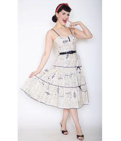 1950s Style Cream Black Dolly McCalls Print Swing Dress (41593-DOLLY) van Bernie Dexter - Hello, Dolly! The Dolly Dress...Price - $144.00-BRmEMgRq