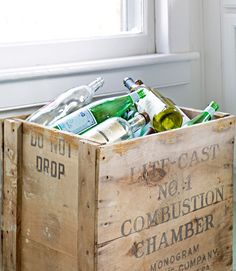 Even recycling can be pretty: Use a cast-off crate instead of a plastic bin.    #storage