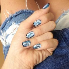 Acid washed denim nails with @Nordstrom for #manimonday #nordstrom denim nails, manicur, makeup schmakeup, beauti, manimonday nordstrom, wash denim, hair, acid wash, denim acid