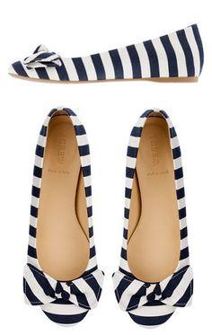 J.Crew Stripe Bow Ballet Flats //