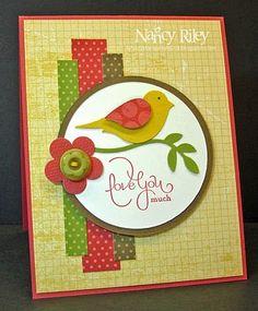 like the colors and design of this card with the two step bird...
