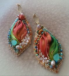 EARRINGS: bead embroidery and shibori silk --- design by Serena Di Mercione